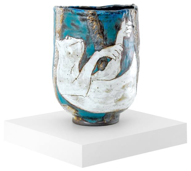 Ceramic vase by Karin Gulbran, pieces from $13,000
