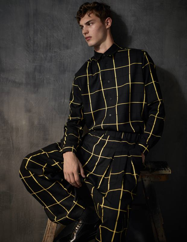 McQ cotton shirt, £325, matching trousers, £270, and leather shoes, £295