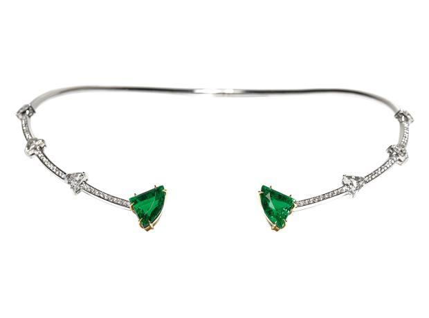 Ara Vartanian white and yellow gold, emerald and diamond choker, price on request