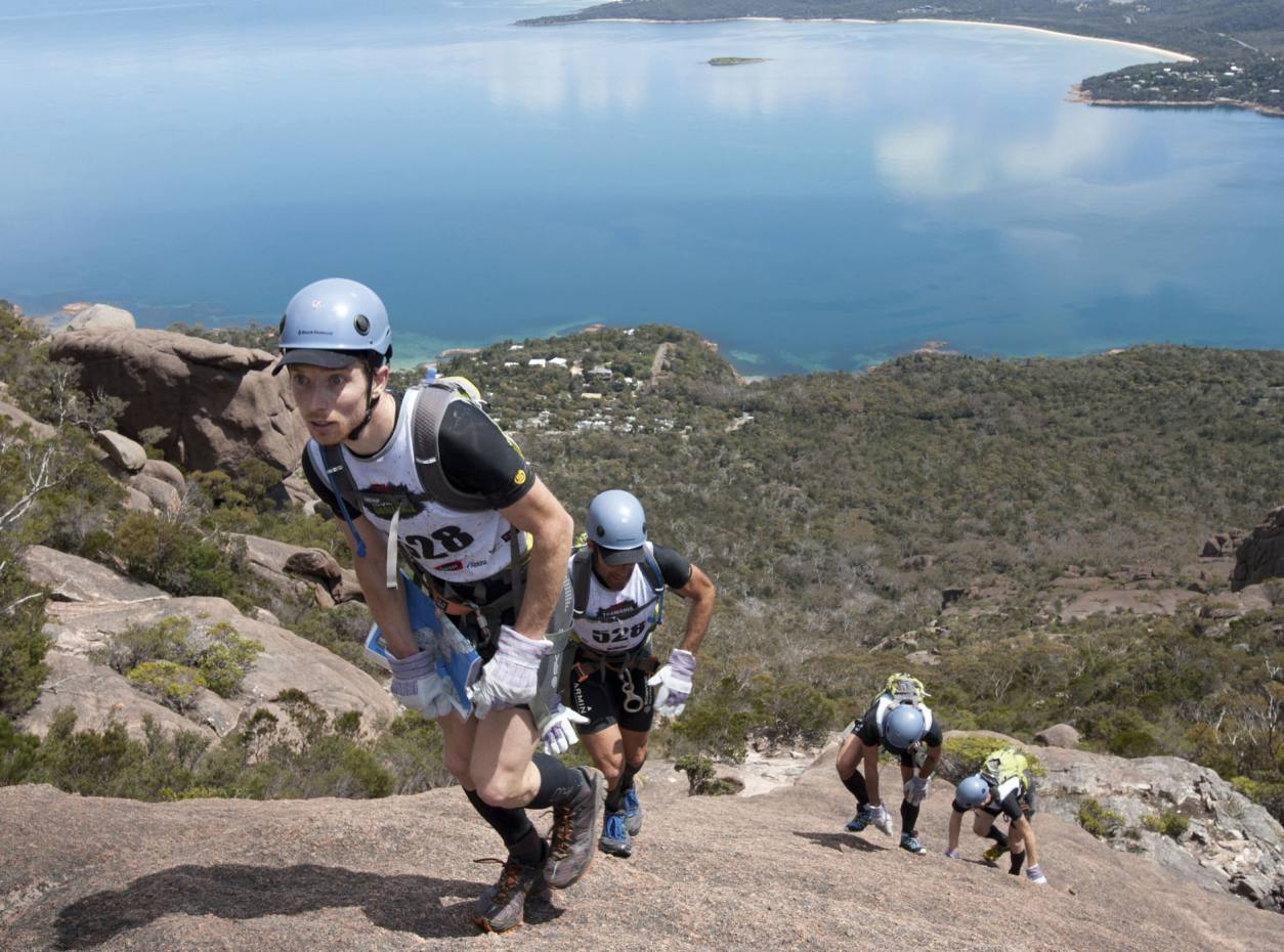 A French team race up Mount Amos on day one
