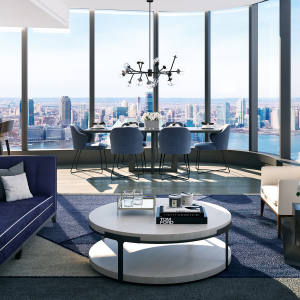 A residence at 125 Greenwich Street, with sweeping views of the Manhattan skyline