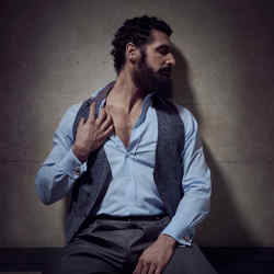 Antonio Davanzo, writer and entrepreneur, wears Giorgio Armani cotton twill waistcoat, £570, and wool trousers, £600. Dunhill cotton shirt, £190. Ex Lux 18ct rose gold and hematite cabochon Mirror, on the Wall cufflinks, about £3,030