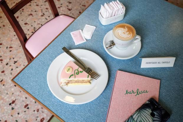 Pink cake from Bar Luce, Fondazione Prada, Milan