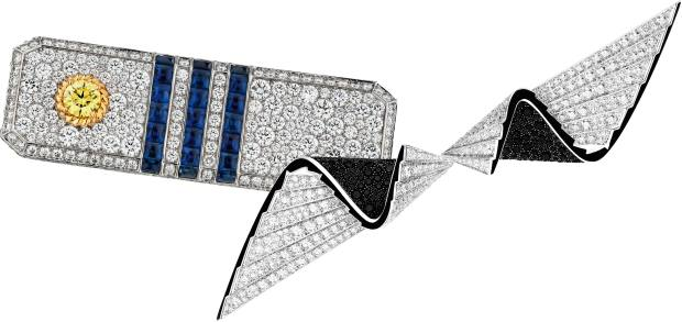 From left: Chanel white and yellow gold, diamond and sapphire Summer Cruise brooch, price on request. Boucheron white gold, diamond and spinel Plissé brooch, price on request