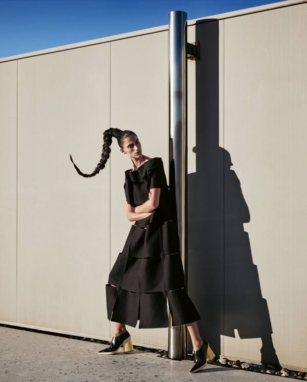 Marni cotton cady dress, £1,580, and leather shoes, £660