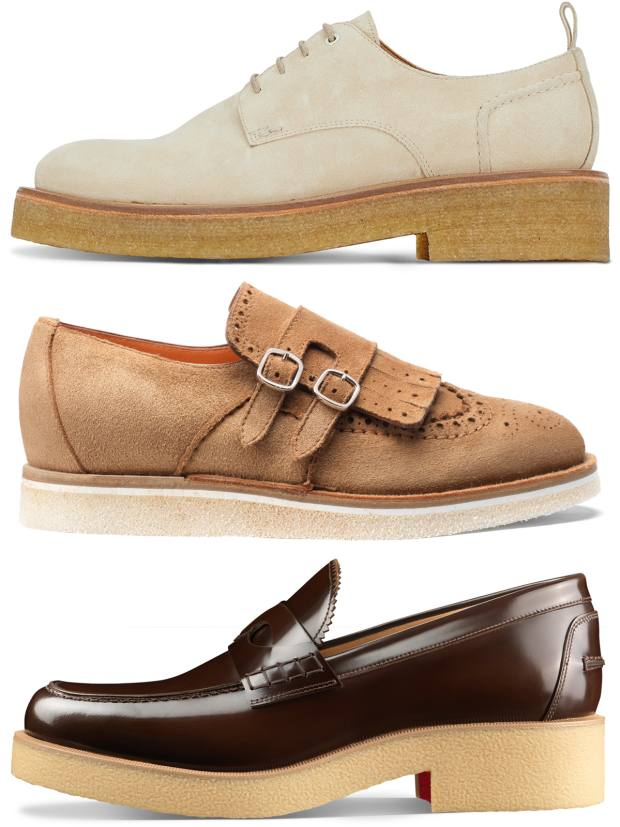 From top: Oliver Spencer suede creepers, £249. Santoni suede Dip shoes, €490. Christian Louboutin calfskin Edgar shoes, £845