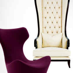 Grande Papilio by Naoto Fukasawa from B&B Italia (left), from £2,014, and Alice wing chair by Christopher Guy, from £4,343.