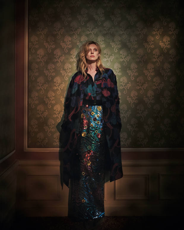 Giorgio Armani mohair jacquard coat, £4,450, and matching jacket with velvet inserts, £2,300. Delpozo sequin and silk skirt, £8,950