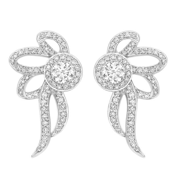 Lark & Berry platinum Bow earrings with diamonds, price on request