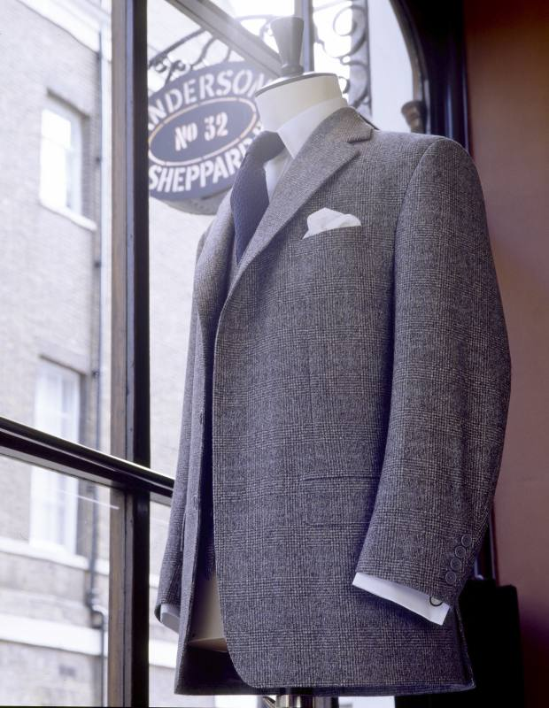 Anderson & Sheppard Prince of Wales-check jacket, £3,744 as a two-piece suit
