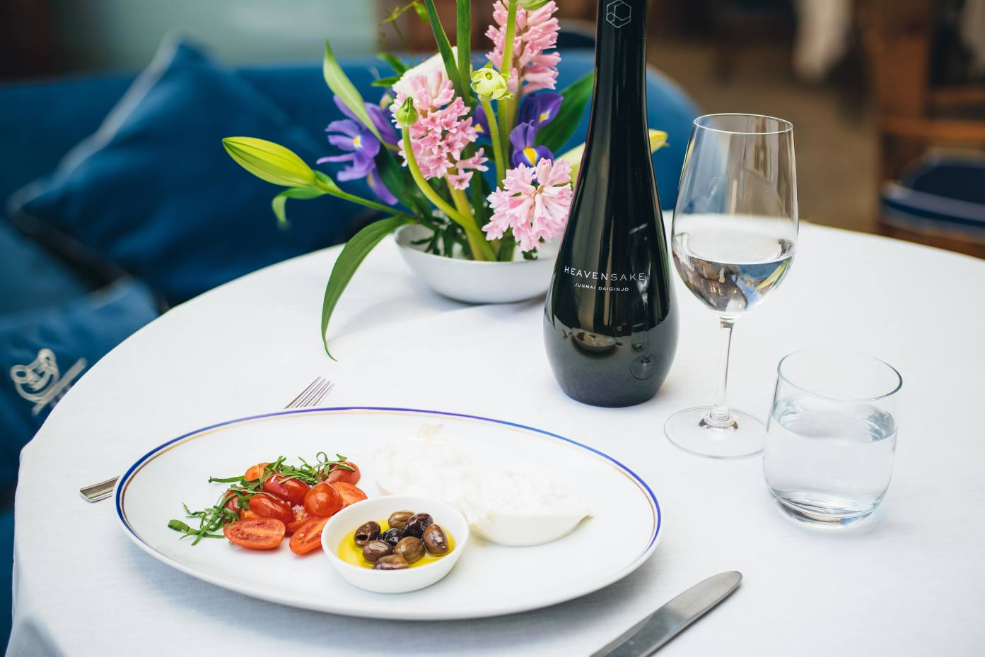 The second course of burrata, datterini tomatoes and olives will be paired with the delicate, floral-tasting Junmai Daiginjo sake