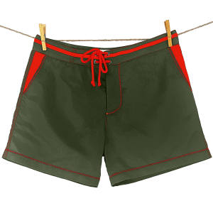 Bluebuck swim shorts made from Seaqual fabric, in khaki with red trim, £75