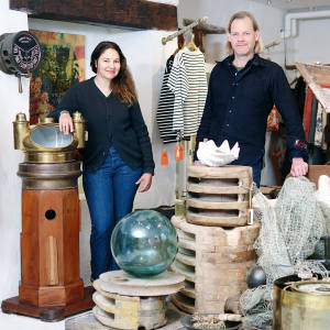 Co-owners Magali Chiaberge and Frans Pachner at Maritime Antiques &