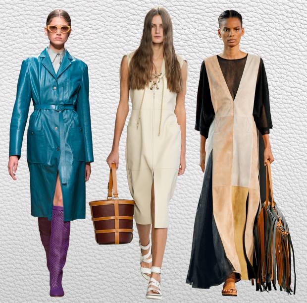 From left: Salvatore Ferragamo karung coat, £11,805. Hermès lambskin dress, £10,420. Loewe suede and silk dress, £2,250