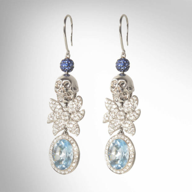White gold Skull earrings with aquamarine, diamonds and sapphires, £13,200