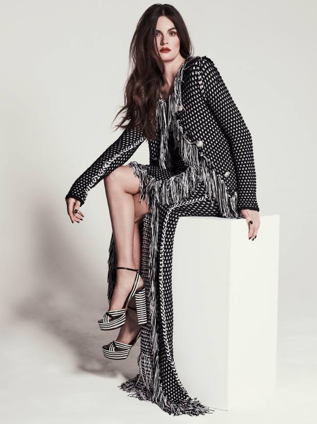 Balmain viscose/cotton jacket, £2,555, matching skirt,£1,890, and linen top, £730. Aquazzura nappa leather Sundance Plateau platform heels, £620
