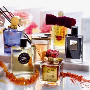 Clockwise from far left: Christian Dior Cuir Cannage, £150 for 125ml. Aedes de Venustas Oeillet Bengale, £185 for 100ml. Cartier La Panthère, £71.50 for 50ml. Penhaligon's Tralala, £150 for 100ml. By Kilian Imperial Tea, £155 for 50ml. Roja Parfums Nüwa, £75 for 100ml. Parfumerie Générale Isparta, £81.50 for 50ml