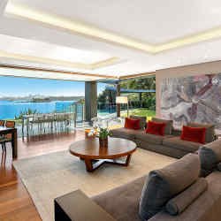 A sleek five-bedroom house in Sydney's Rose Bay with impressive views of the harbour, about £24.3m