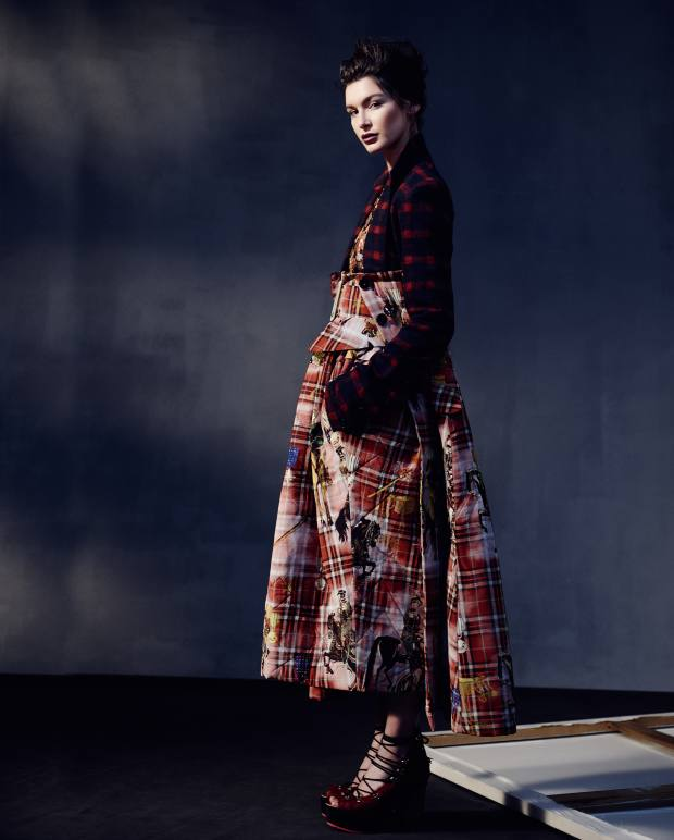 Bella wears Wunderkind alpaca/wool and crepe de Chine quilted coat, about £1,900, crepe de Chine blouse (just seen), about £560, crepe de Chine quilted cummerbund trousers, about £700, crepe de Chine belt, about £105, and pony hair pumps, about £490