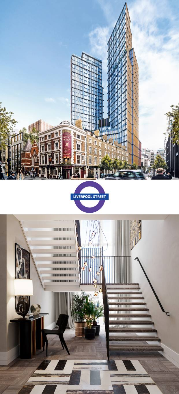 The One Crown Place complex will feature 246 apartments intwo towers, available from£867,000 through CBREResidential
