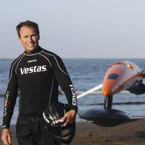 Record-breaking Australian speed sailor Paul Larsen with Vestas Sailrocket 2, in Namibia