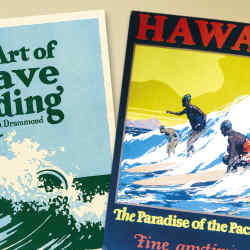 Left: first edition presentation copy of The Art of Wave Riding, sold by Bonhams for $1,830. Right: 1930s poster sold for $1,000 at the 2009 Hawaiian Islands Vintage Surf Auction.