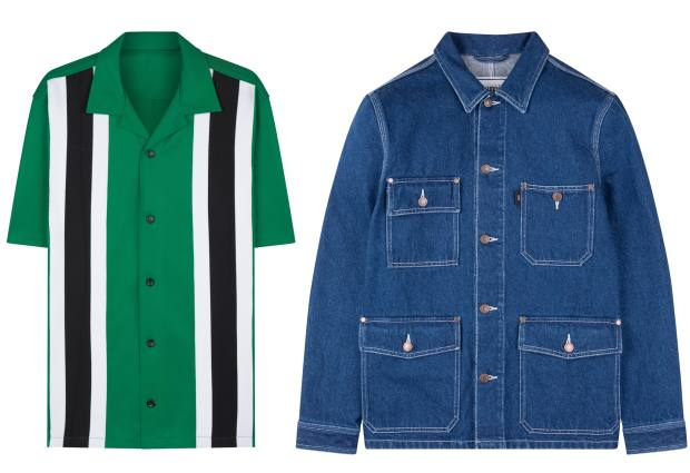 From left: Ami polyester shirt, £170, and denim jacket, £235
