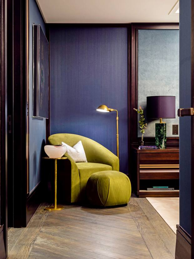 The master bedroom in theshow apartment at Clarges Mayfair, by Martin Kemp Designs