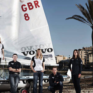 Members of Team GBR at Arenal in Palma, Mallorca, from left: Ben Ainslie, Iain Percy, Andrew Simpson, Hannah Mills, Stephen Park, Saskia Clark, Paul Goodison, Bryony Shaw and Nick Dempsey.