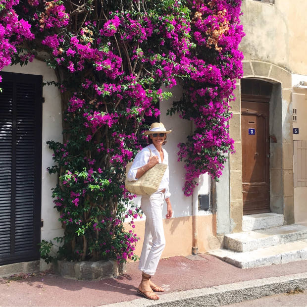 The model and designer in Saint-Tropez last year
