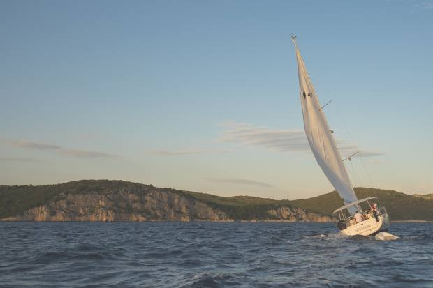 A 38ft monohull boat sailing in the Mediterranean