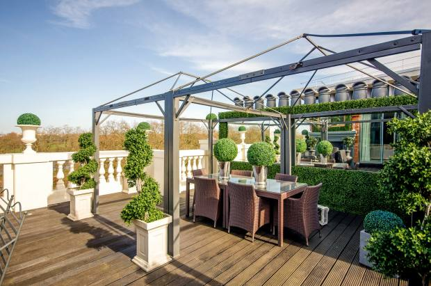 The terrace of the six-bedroom Knightsbridge penthouse overlooks Hyde Park