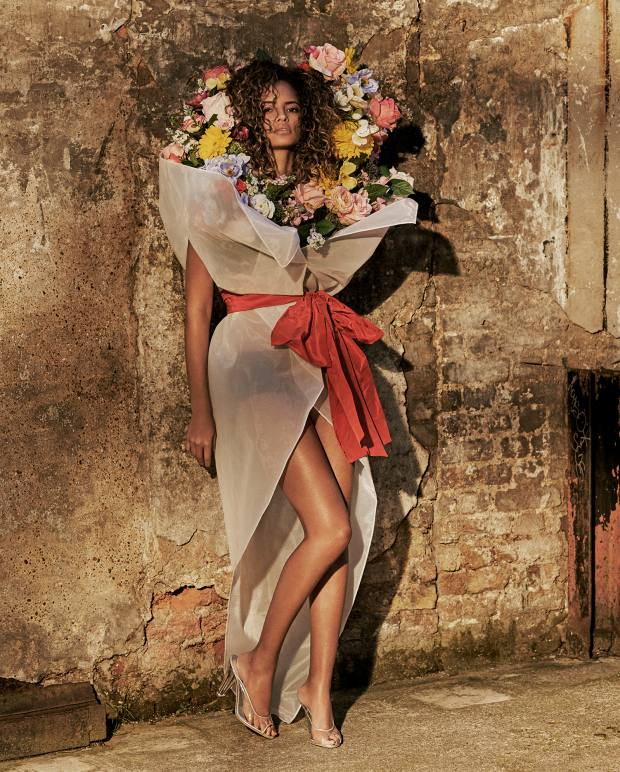 Moschino organdie bouquet dress, £4,130, and PVC-mix heels, £795
