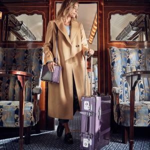 "Just 50 of each design in Globe-Trotter's Deluxe Collection will be finished in amethyst. Shown here are the 7"" London Square case (£1,130) and the 20"" trolley case (£2,110)"