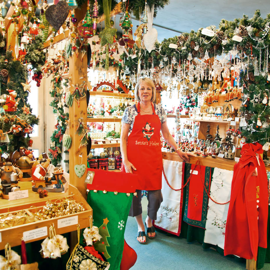 Co-owner Judy Hurt at The Christmas Shop.