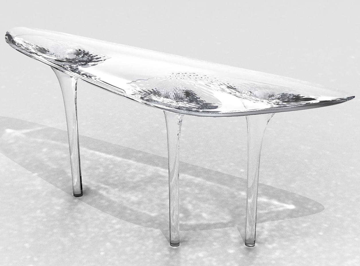 Silver Liquid Glacial dining table, price on request, through David Gill