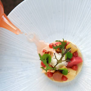 An unusually delicate mix of rhubarb, foie gras and Parmesan