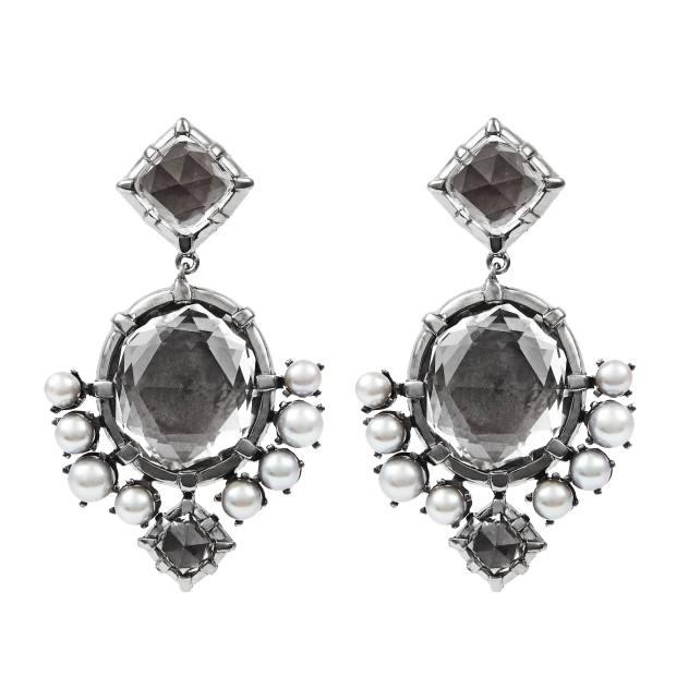 Larkspur & Hawk rhodium, quartz and pearl earrings, £1,350