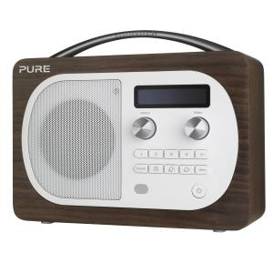 Pure Evoke D4 portable digital radio in walnut veneer with touch-sensitive Snoozehandle, £130. Also in other finishes/colours/with Bluetooth
