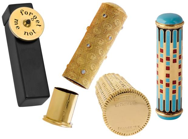 From left: c1935 Cartier 18ct gold and onyx case, $5,400 from Betteridge. Boucheron 18ct gold and diamond case, $3,400 from LuxuryBazaar.com. 1960s Jean Schlumberger yellow and white gold case for Tiffany & Co, $2,950 from Beladora. c1930 Van Cleef & Arpels 18ct gold and enamel case, £3,000 from Symbolic & Chase