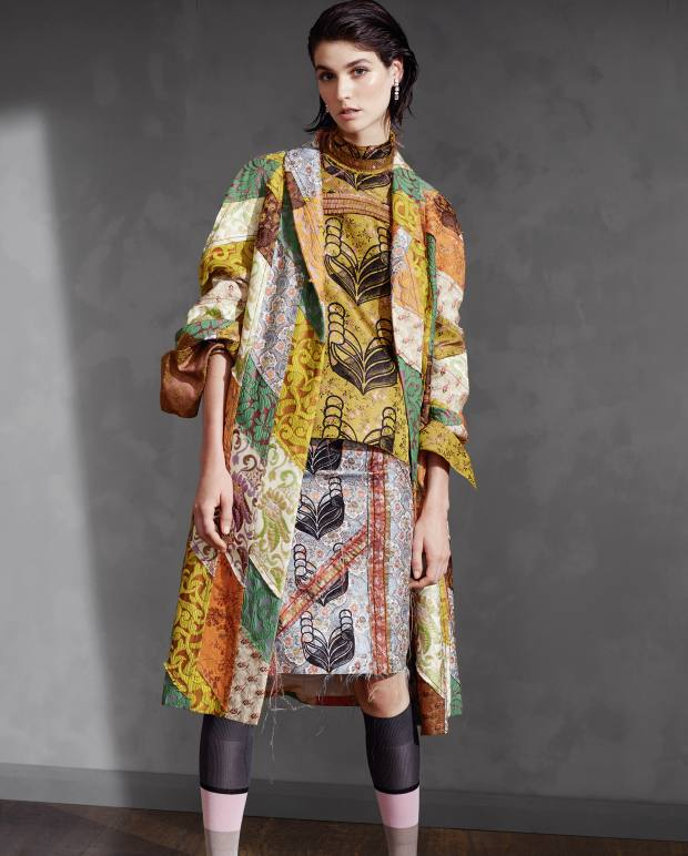 Patchwork Sliced, spliced and stitched – mismatched panels channel the boho vibe of the 1970s Prada silk-brocade patchwork coat, £4,545, silk-jacquard top, £1,660, gauze and linen skirt, £780, silk socks, £80, and crystal earrings, £320