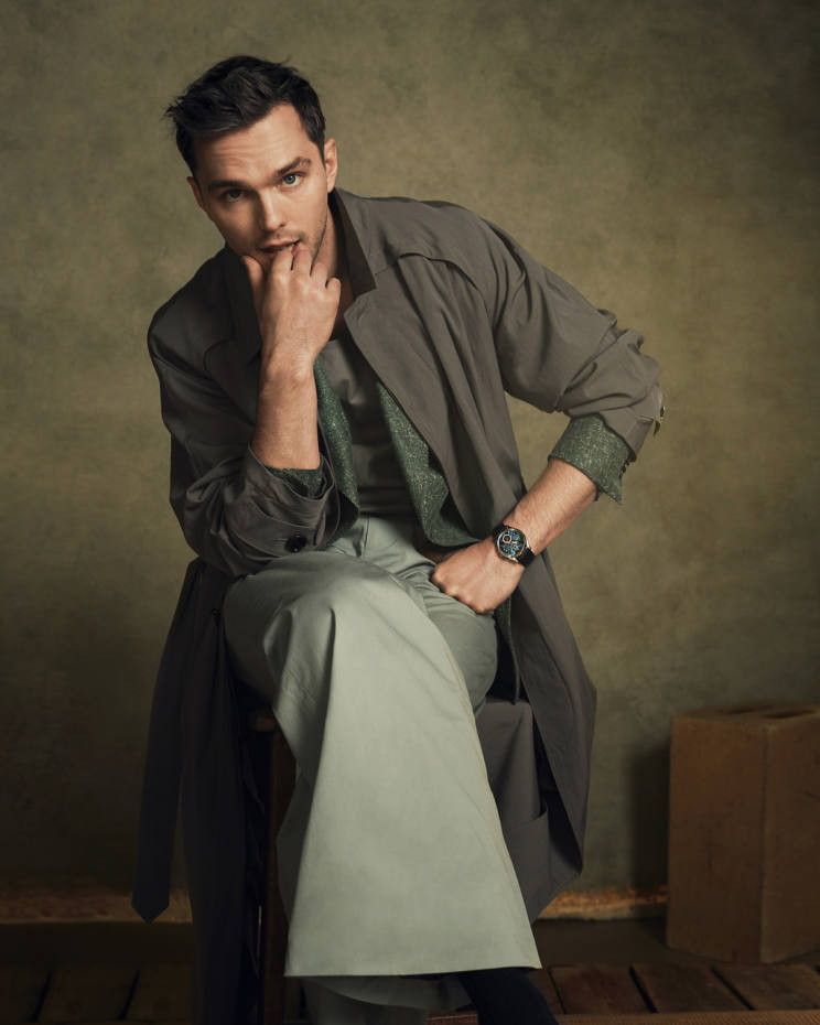 Boss wool-mixcoat, £645, and leather vest, £179. Daks cotton/linen jacket, £625, and cotton trousers, £250. Jaeger-LeCoultre white gold and enamel Master Ultra Thin Perpetual watch on alligator strap, £49,200