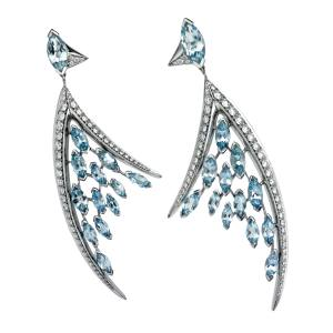Shaun Leane Aerial earrings in 18ct white gold with diamonds and aquamarines, £12,200