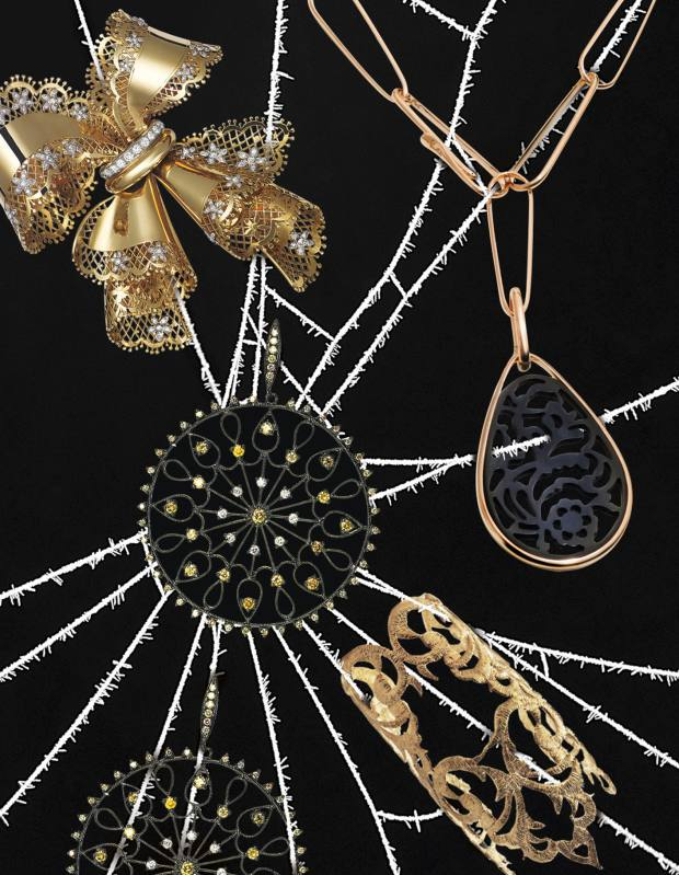 Clockwise from far left: Van Cleef & Arpels vintage 1940s brooch in gold, platinum and diamonds, price on request. Pomellato rose gold and jet Victoria pendant necklace, £7,060. Aida Bergsen gold lace-effect cuff, £740. Annoushka white gold Pinwheel Lattice earrings with white and yellow diamonds, £7,900.