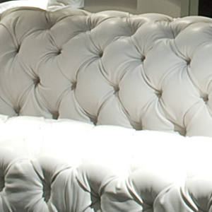 Paola Navone's bold quilted leather sofa, Chester Moon, for Baxter Furniture, from £15,400. See text for stockists.