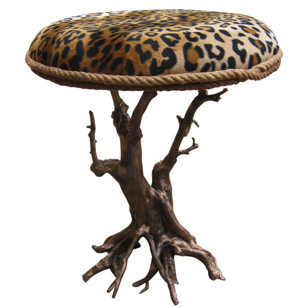 Bronze and faux-fur Elf Leopard stool, €4,500, from Galerie Matignon