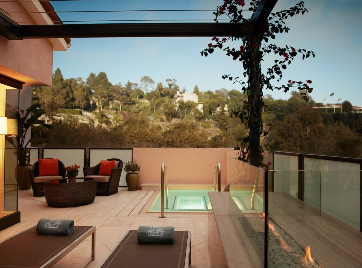 The terrace of one of the new Canyon Suites at the Hotel Bel-Air.