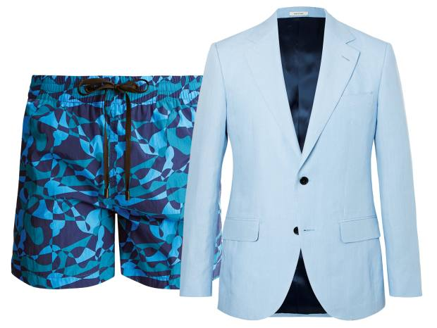 From left: Everest Isles Econyl-nylon Swimmer GIA Version 1 swim shorts, $175. Mr Porter x Husbands linen suit, £1,270