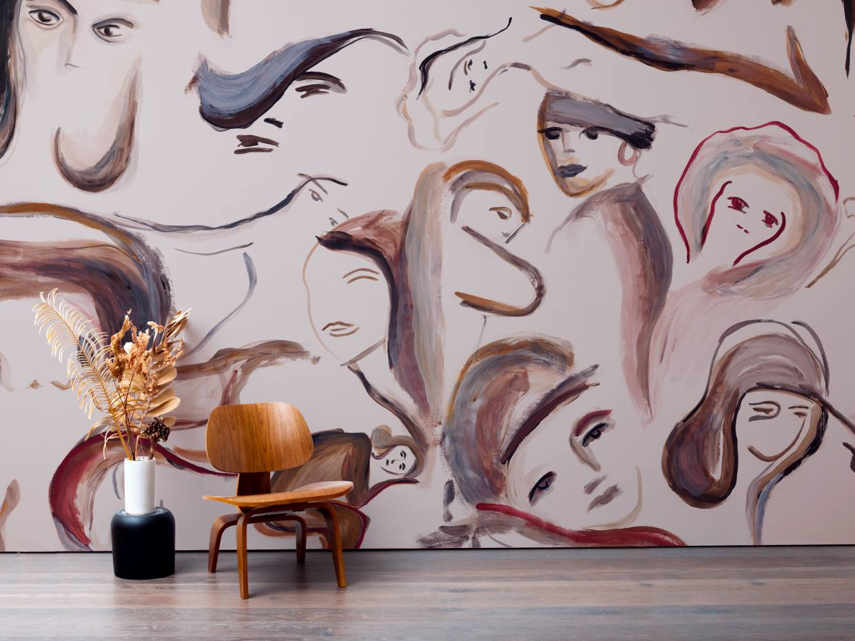 Calico x Faye Toogood Ada wallpaper, $344 per sq m, from its Musecollection inspired byToogood's handpainted artwork oficonic women