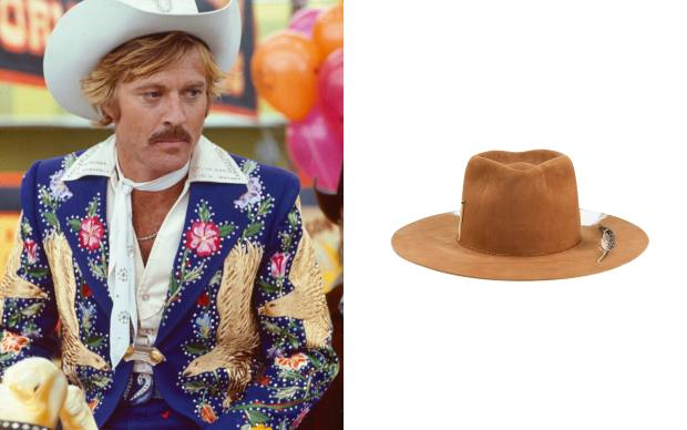 From left: Robert Redford in The Electric Horseman wearing Nudie Cohn. Nick Fouquet wool La Liberation hat, £1,210
